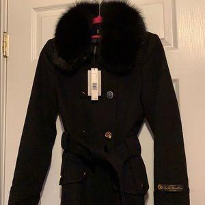 Black Fox Fur-Trim 100% Italian Wool Coat